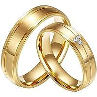 CARTER PAULas alianzas de Boda Anillo de Acero Inoxidable del Diamante de la CZ 18K del Oro de la Pareja, Las Mujeres, el Tamaño 12