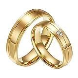 CARTER PAULas alianzas de Boda Anillo de Acero Inoxidable del Diamante de la CZ 18K del Oro de la Pareja, Las Mujeres, Tamaño 15