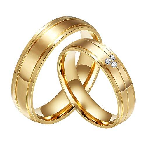 CARTER PAULas alianzas de Boda Anillo de Acero Inoxidable del Diamante de la CZ 18K del Oro de la Pareja, Las Mujeres, Tamaño 17