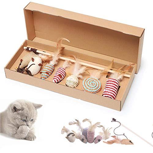 SHUANGJUN Gato Juguete Interactivo Cat Varita, Juguetes para Gatos, con Plumas y Campanas 7 Piezas Juguete Interactivo Gato Plumas, para Ejercitar Gatos y Gatitos Varita de Juguete para Gato