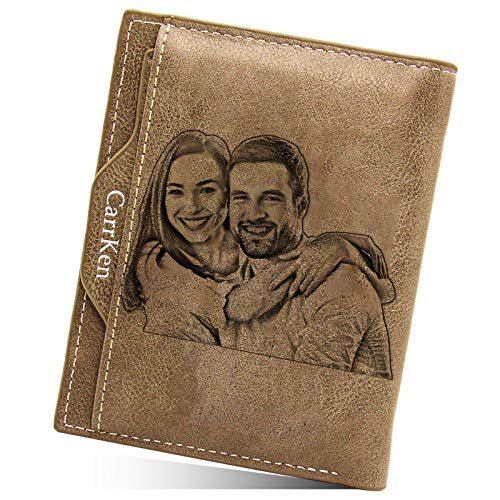 Carteras Billetera para Hombre Personalizada con Foto,Personalizado Hombre Carteras de Bifold para Papá Novio Familia,Personalizado con Foto Regalo Navidad