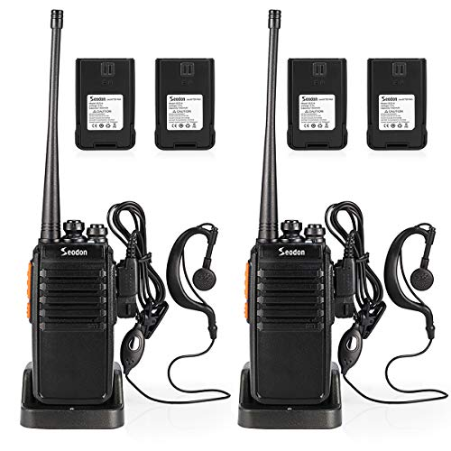 Seodon Walkie Talkies for Adults Long Range with One Extra Battery for Each Radio Rechargeable Walkie Talkie Two Way Radios with Earpiece/Headsets(2 Pack)