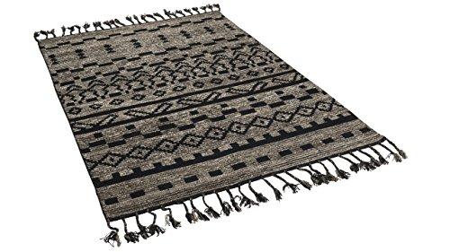 Theko Natur Teppich Vintage Berber Schwarz Braun in 7 Größen