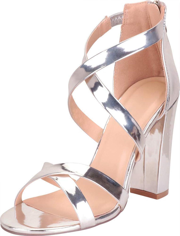 Cambridge Select Women's Crisscross Strappy Chunky Block High Heel Sandal