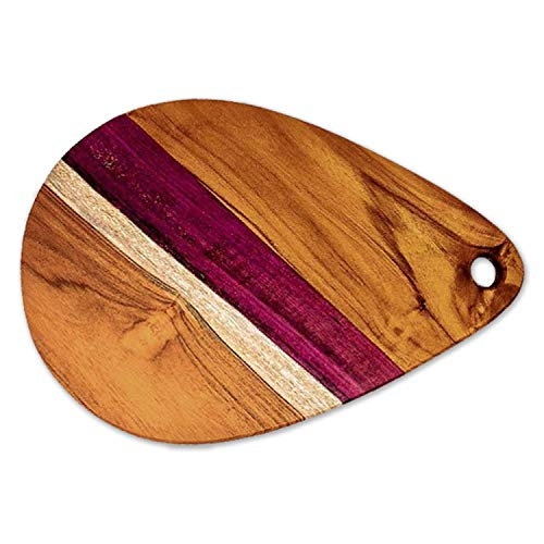 Teak Wood Cutting Board Cured with Organic Beeswax, Reversible with Juice Groove (17 x 11 - Gift Box Included) by Ziruma