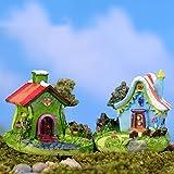 NIAN Mini Schloss Cartoon Haus Villa Mini Gebäude Miniaturen Fee Gartenzwerg Moos Terrarium Dekor Handwerk Bonsai Wohnkultur