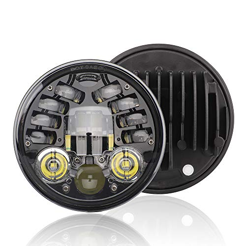 Faro de Motocicleta 12V, Faro LED Redondo Adecuado para 14,6 cm (5,7 Pulgadas), señales de Giro Retro, IP67 a Prueba de Agua