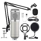 Gaetooely Kit de Micrófono Colgante Bm-800, Grabación de Transmisión en Vivo Juego de Micrófono de Condensador de Diafragma Grande (Plateado)