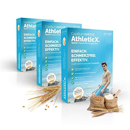 Sparen: 900g Capillum AMOVE AthleticX [Geruchlos] - Schmerzfreies Dusch Haarentfernungcreme Pulver mit Weizenstärke für extra weiche Haut (Körper & Intimbereich)