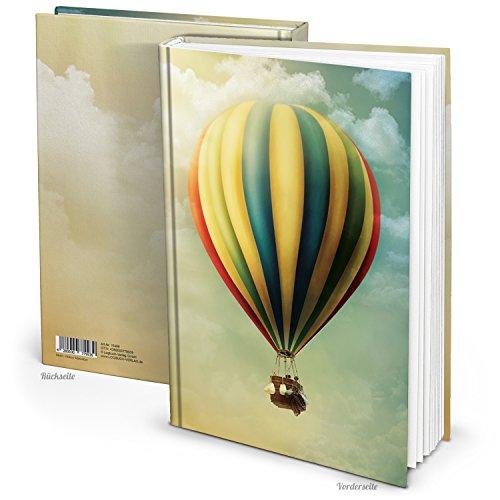 XXL bijzonder hoogwaardig notitieboek DIN A4 BALLON VLIEGEN DIN A4 vintage nostalgie 148 lege witte pagina's notebook dagboek schetsboek - groot blanco boek Hardcover reisdagboek
