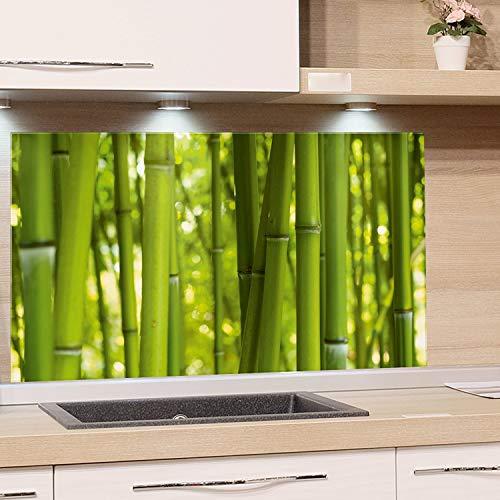 GRAZDesign Küchen-Spritzschutz Glas, Bild-Motiv Bambus grün Glasbild als Küchenrückwand - Küchenspiegel Wandschutz Küche Herd / 80x40cm