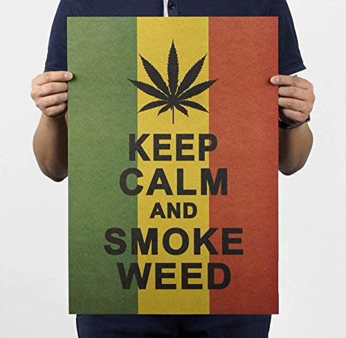 Keep Calm E Weed Vintage Retro Poster Wallpaper Bar Coffee Wall Sticker Accesorios De Decoración Del Hogar 51 * 36Cm