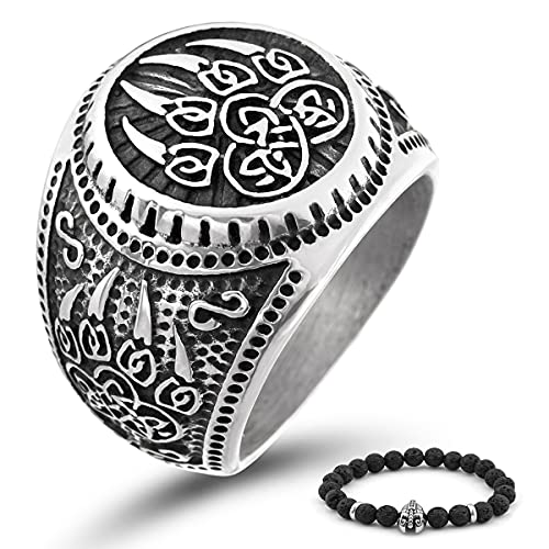 BaviPower Celtic Bear Paw Viking Ring for Men ♦ 316L Stainless Steel ♦ Norse Scandinavian Vikings Jewelry (8) (Celtic Bear Paw, 12)