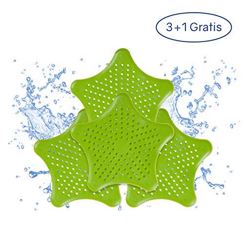 PaWa Abflusssieb – 3 + 1 Gratis – Duschstern aus Silikon – Haarsieb für Bad und Küche (Grün)