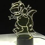 Dibujos animados divertido dinosaurio 3D luz de noche atmósfera lámpara de mesa 7 colores cambio visual mesa dormitorio bebé juguete niños regalo escritorio hogar oficina decoración
