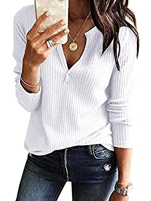 Women's Waffle Knit V Neck Henley Tops Casual Long Sleeve Pullover Sweater Blouses White by