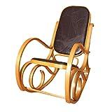 Sedia a dondolo M41 legno 90x50x90cm quercia seduta patchwork marrone