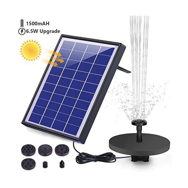 AISITIN Solar Fuente Bomba, 6.5W Fuente de Jardín Solar, Batería Incorporada, Caudal 500 L/H, con 6 Boquillas y Tabla…