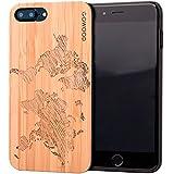 GOWOOD Coque iPhone 7 Plus et 8 Plus en Bois   Coque en Bois de Bambou avec Gravure Carte du Monde - Côtés en Polycarbonate et Caoutchouc Résistant pour Protection Optimale