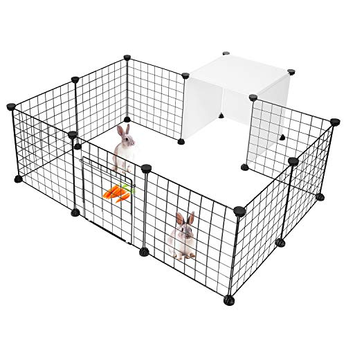 LIVINGbasics Pet Dog Playpen, Small Animal Cage Indoor Portable Metal Wire Yard Fence for Small Animals,14 Panels