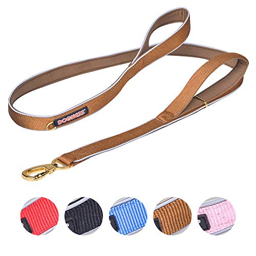 DOGNESS Classic Double Handle Dog Leash, Heavy Duty Soft Padded Reflective Nylon, for Walking Training Small Medium Large Dogs, Matching Collar Harness Sold Separately (M: 25-90 lbs, Brown)