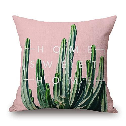 Fundas de Cojín Funda de Almohada Decorativa Funda de cojín Verde Plantas Tropicales Cactus algodón Lino Funda de cojín para sofá decoración del hogar Cojines Decorativa Almohada Fundas