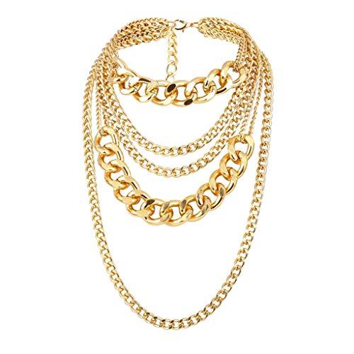 F Fityle Collar con Colgante de Cadena de Oro Multicapa para Hombre Y Mujer, Gargantilla de Hip Hop, Joyería