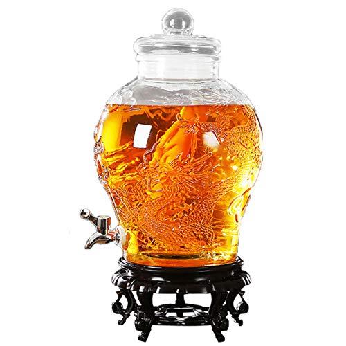 FengJ Dispensador de Bebidas de Vidrio de 6 l con Grifo, dispensador de Bebidas con Base de Grifo y Resina, Tallado de Doble dragón, Principio de elaboración Tradicional, para Cerveza, Vino