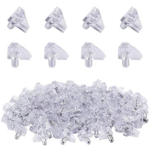 Mungowu 100 Pcs Clear Shelf Support Pegs -5 mm Cabinet Shelf Clips,Shelf Holder Pins Bracket Steel Pin for Cabinet Furniture