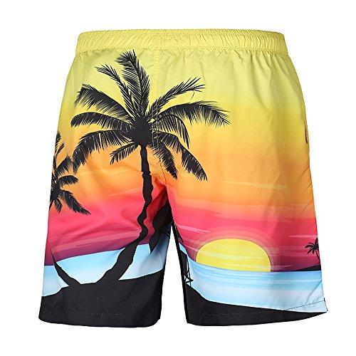 Herren Sommer Casual Plus Größe Tropic Hawaii Palm 3D gedruckt Strand Shorts Hosen,Kurze Hosen Herren,Bademode Badeshorts Badehose,Männer Trocknen Schnell Am Strand Surfen Laufen Schwimmen Hosen