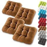 Gräfenstayn 4er-Set Sitzkissen 40x40x8cm aus 100% Baumwolle (Bezug) mit Öko-Tex Siegel in vielen...