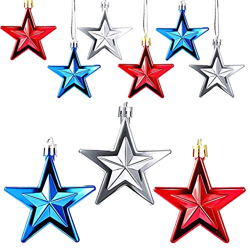 12PCS Independence Day Star Hanging Ornament - 4th of July Patriotic Hanging Star Ornament, USA Stars Flag Bauble for Memorial Day Party Festival Christmas Tree Decorations