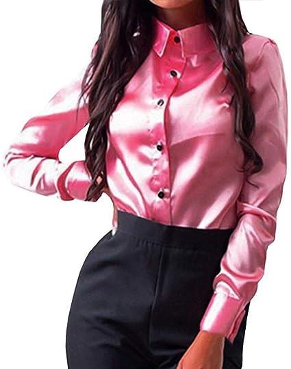 GCDN - Camisa para mujer, manga larga, de satén, color sólido ...