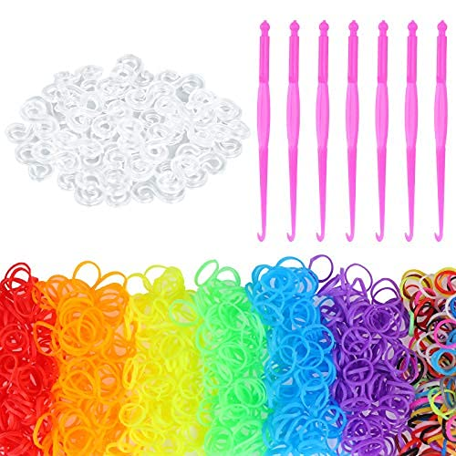 4200 bandas de goma de telar, bandas de goma multicolor con 168 clips y 7 ganchos Loom Bracelet Making kit para niños DIY