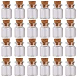 MaxMau 24 Sets of 5ml Small Glass Bottles with Cork Stopper Tiny Clear Vials Storage Container for Art Crafts Projects Decoration Party Supplies