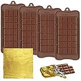FineGood Stampi per cioccolatini con 100 involucri in lamina d'oro, stampi antiaderenti per cioccolatini e cioccolatini