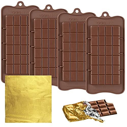 FineGood 4 moules à chocolat avec 100 emballages en feuille d'or, moules à barre de chocolat fabricant de barre de chocolat moules à chocolat en silicone