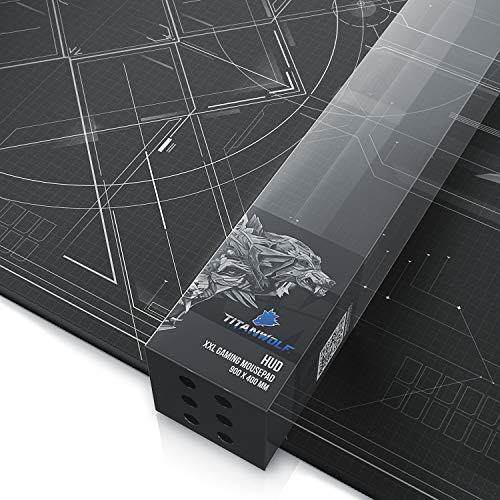 TITANWOLF - XXL Tappetino per Mouse da Gioco - Gaming Mousepad Extra Grande 900 x 400mm - Pad con Base in Gomma Antiscivolo - Spessore 3mm - Nero - Modello HUD