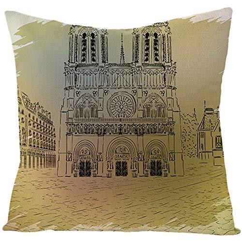 Amody Fundas de Cojines Terraza, Funda Cojines 50x50cm Boceto de Notre Dame de Paris Fundas Cojines para Sofá Dormitorio Sala de Estar Style 03