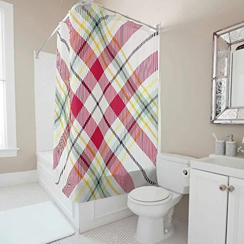 Gamoii Rote Plaids Schottischer Tartan Duschvorhänge Bad Vorhänge Mode Dusche Vorhang Wasserdichter Duschvorhänge mit Duschvorhangringen White 120x200cm