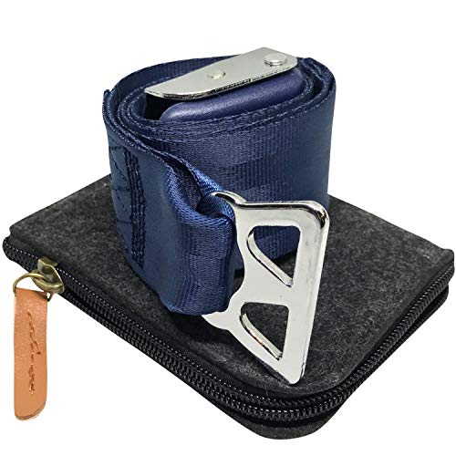 Airplane Seatbelt Extender (Blue, for Southwest Airlines) Type B - Includes Bonus Felt Zipper Pouch Carrying Case | by journeyxl