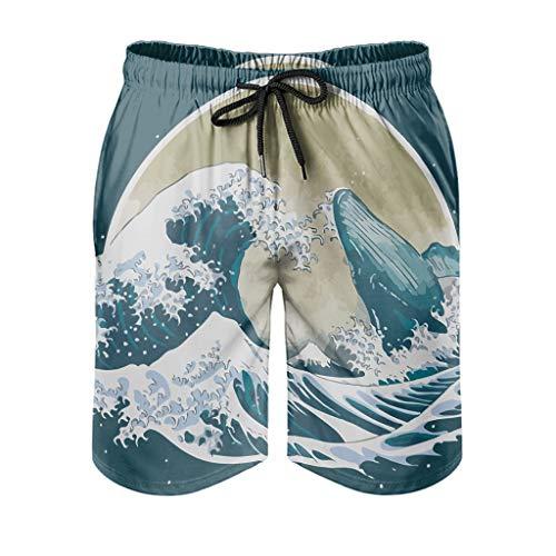 nanjingjin Short de plage Quick Dry Beach The Great Whale Outdoor Nature Hiking Beach Short pour homme Quick Dry Ukiyoe avec doublure intérieure en maille et poches XXL Blanc