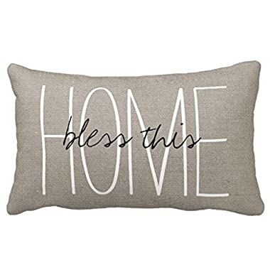 Acelive 12x20 Inches Cotton Linen Standard Pillowcase Home Decorative Cushion Case Rustic Gray Bless This Home Pillow Cover For Valentine's Day Father's Day Mother's Day Gift