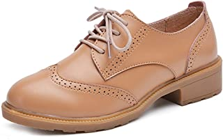 Bonrise Women's Classic Wingtip Oxford Shoes Vintage Lace Up Casual Flat Low Heel Dress Oxfords Brogues Black