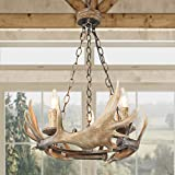 LOG BARN Farmhouse Chandelier, Dining Room Lighting Fixtures Hanging in Hand-Polished Resin and Rusty Metal Finish, 3 Faux Antler Pendant for Kitchen Island, Foyer, Bedrooms