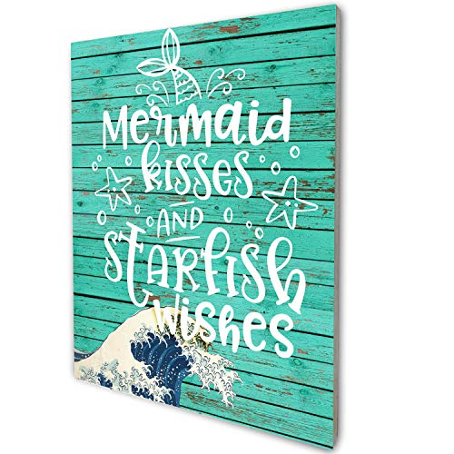akeke Funny Mermaid Kisses and Starfish Wishes Vintage Rustic Farmhouse Wood Wall Art Decor, Funny Inspirational Wall Decor for Kid Daughter Bedroom Decoration