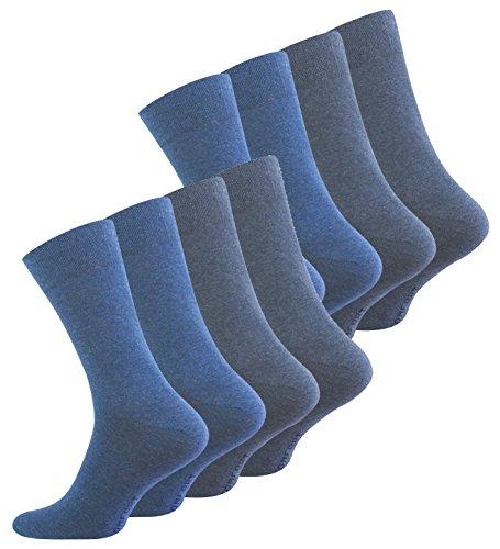 VCA 8 Paar Herren COMFORT Socken, ohne Gummib&, Baumwolle mit Elasthan, verschiedene Blautöne