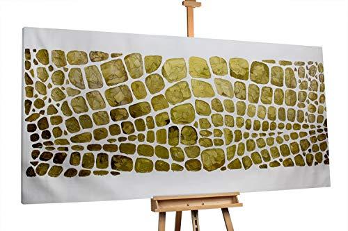 KunstLoft® XXL Gemälde 'Goldhaut' 200x100cm | original handgemalte Bilder | Abstrakt Gold Deko XXL | Leinwand-Bild Ölgemälde einteilig groß | Modernes Kunst Ölbild