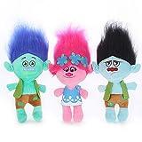 Nette Trolle Mohnzweig Plüschtier Kissen Kissen Puppe Kuscheltier Buntes magisches Haarspielzeug für Kinder Baby Geburtstagsgeschenk 23cm 3 STK