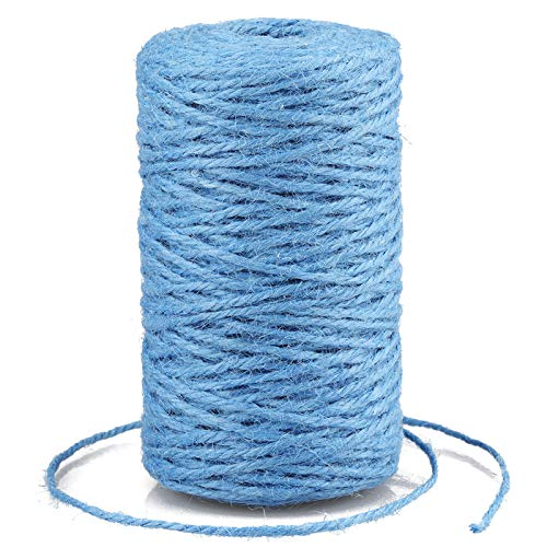 G2PLUS 100M Light Blue Jute String Twine, 2MM Bakers Twine, 3Ply Art and Crafts Linen String for DIY Craft; Gardening Use
